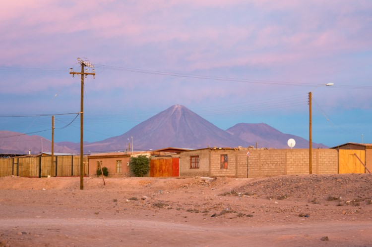 Sunset over San Pedro de Atacama and the Licancabur Volcano