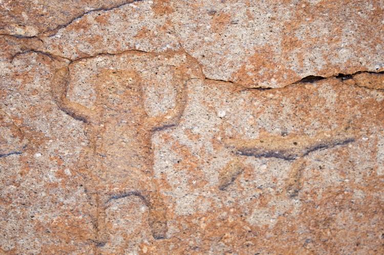 Petroglyphs near Hierbas Buenas, near San Pedro de Atacama in the Atacama Desert, Chile