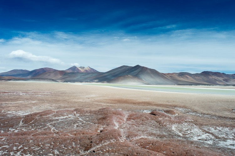 Salar de Talar and the Piedras Rojas (Red Rocks) in the Atacama Desert, near San Pedro de Atacama