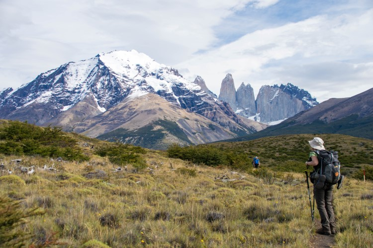 A view of the Torres del Paine towers on the W circuit, Patagonia