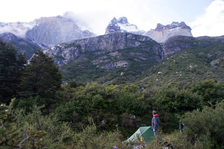 Torres del Paine Patagonia W trek at Cuernos campground with views across Los Cuernos