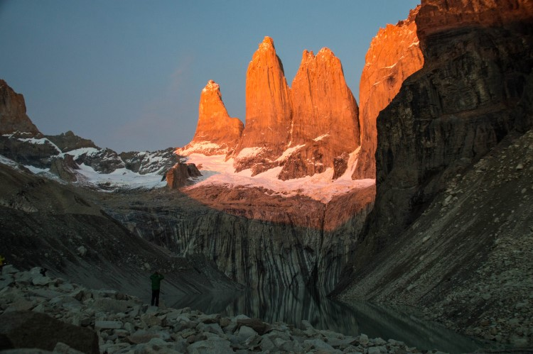 Dawn at the towers on the Torres del Paine W trek