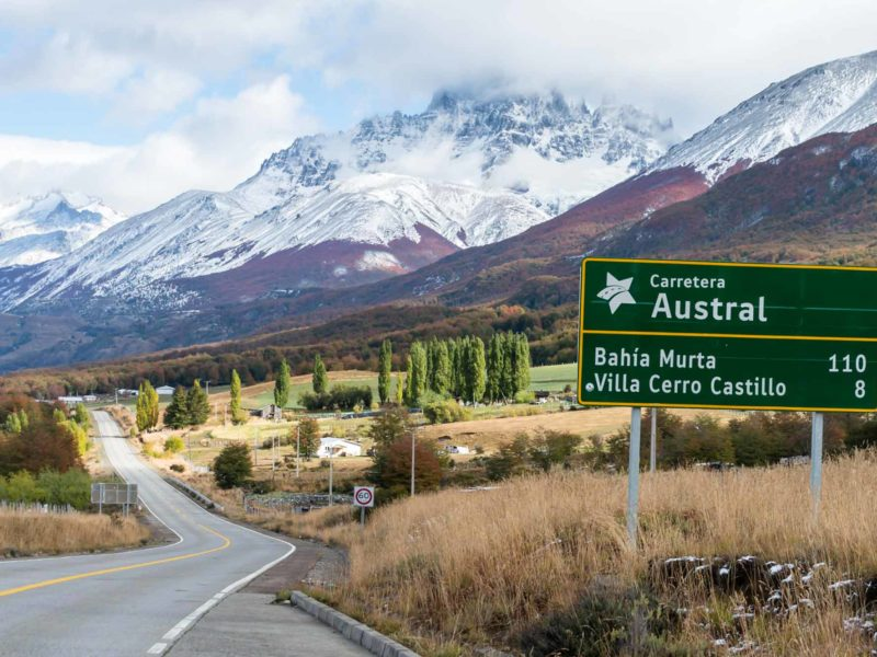 A signpost along the Carretera Austral, an excellent destination for a two week Patagonia itinerary