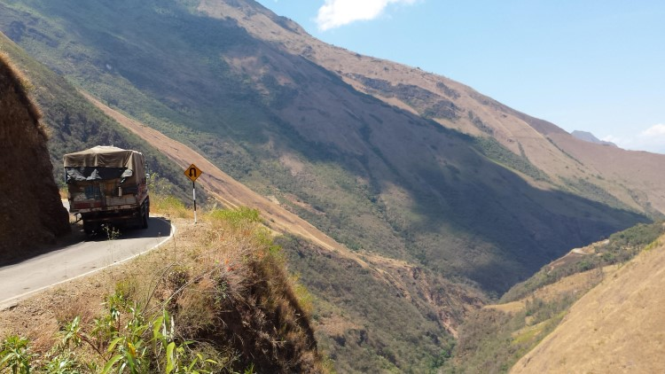 A steep drop on a precipitous road off the gringo trail in South America