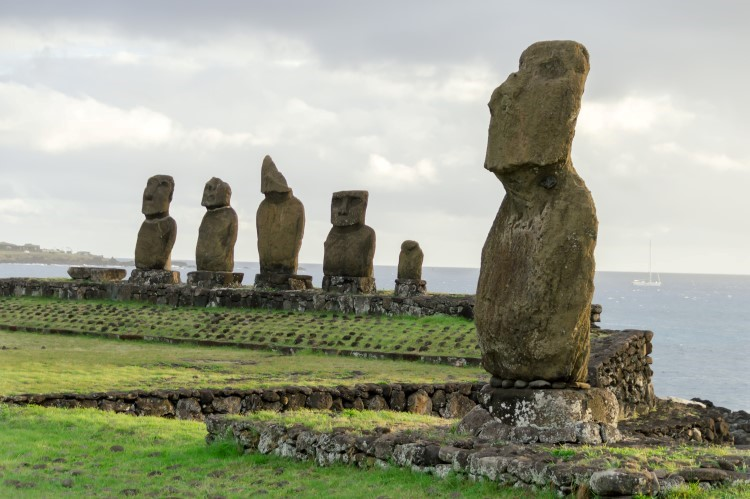 Moai at Ahu Tahai, a ceremonial platform on the western edge of Easter Island.