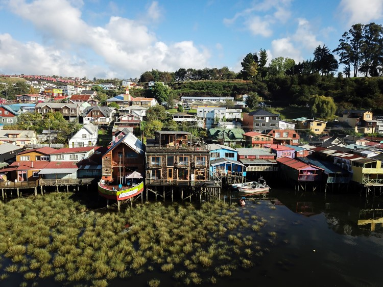 The palafitos of Castro on Chiloe Island, Chile