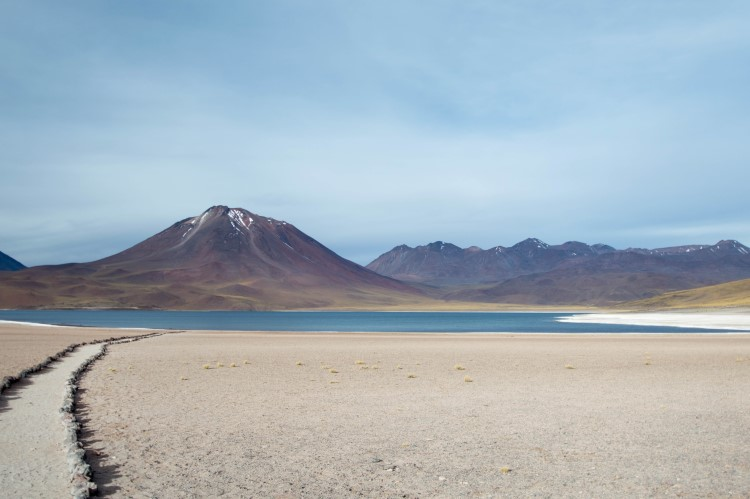Views of Lago Miscanti or Miscanti Lake, a brackish water source situated in the desert plains of the Atacama Desert and flanked by volcanoes.