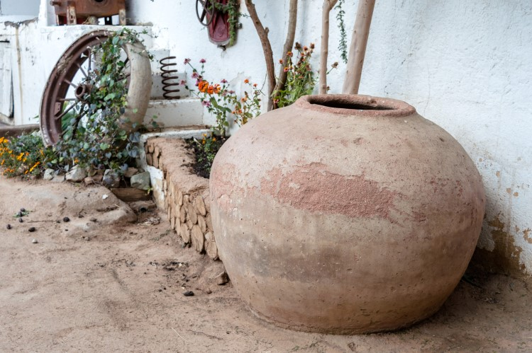 A pisco (an earthenwear jar) used to transport the alcohol on display in the Los Nichos distillery, Pisco Elqui.
