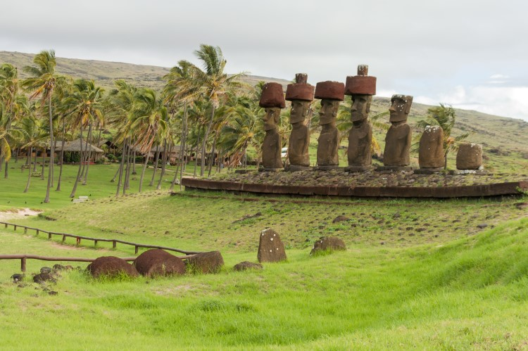 Ahu Nau Nau on Anakena Beach, Easter Island, Chile