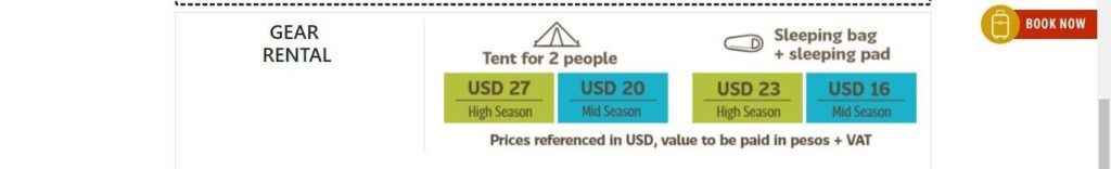 Cost of camping equipment rental in Fantastico Sur campground and refugios in Torres del Paine National Park 2019-2020