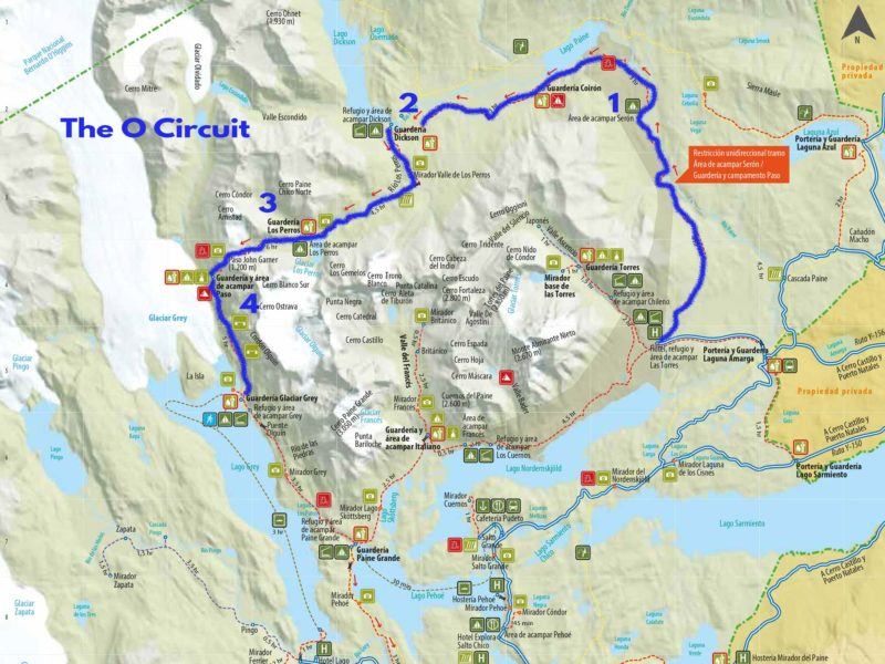 Map of the O Circuit trek through Torres del Paine National Park