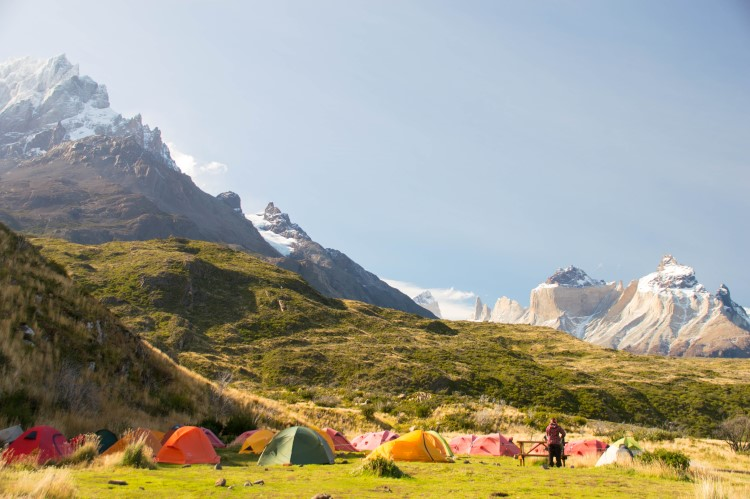 The campsite at Refugio and Camping Paine Grande, Torres del Paine National Park, Patagonia