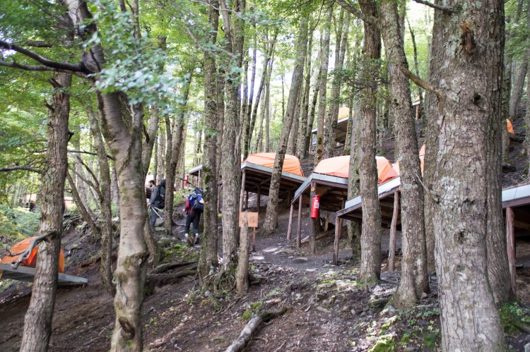 Camping in El Chileno on raised wooden platforms. Torres del Paine National Park.