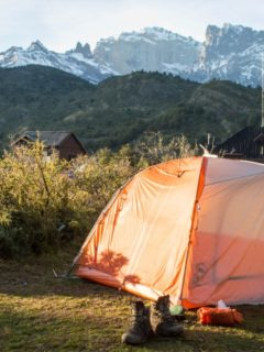 A tent pitched at Camping Dickinson along the O Circuit and information on how to make camping reservations in Torres del Paine National Park Patagonia
