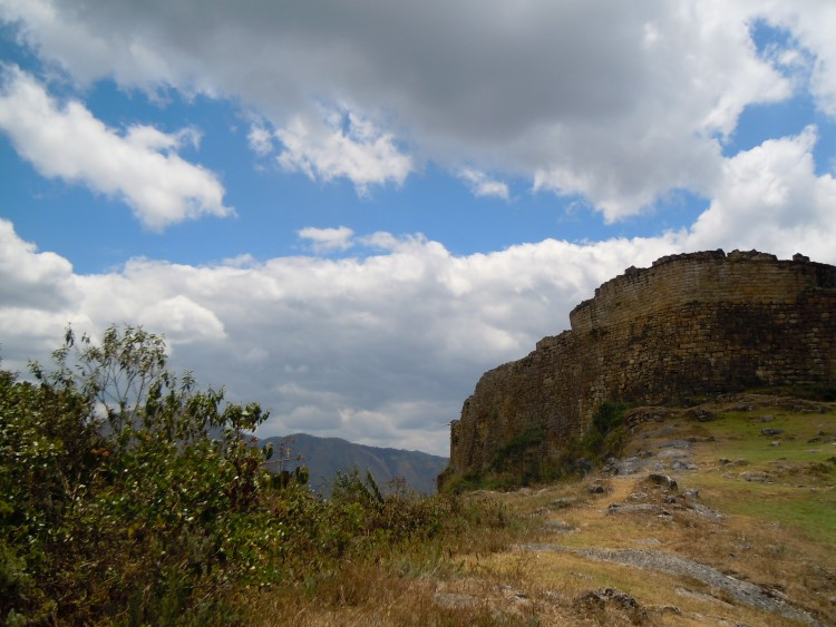 The towering stone walls of the Kuelap fortress on a mountain top close to Chachapoyas Peru
