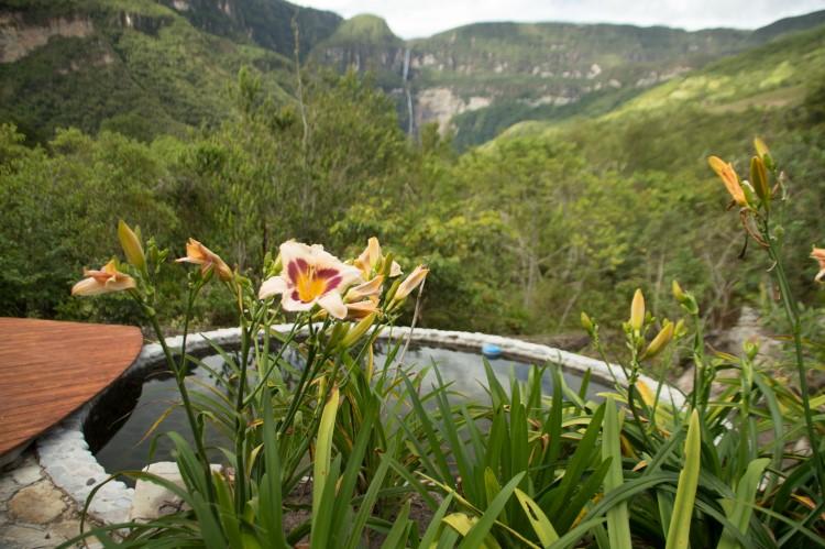 Views of Gocta Falls from the terrace of Gocta Natura near Chachapoyas Peru