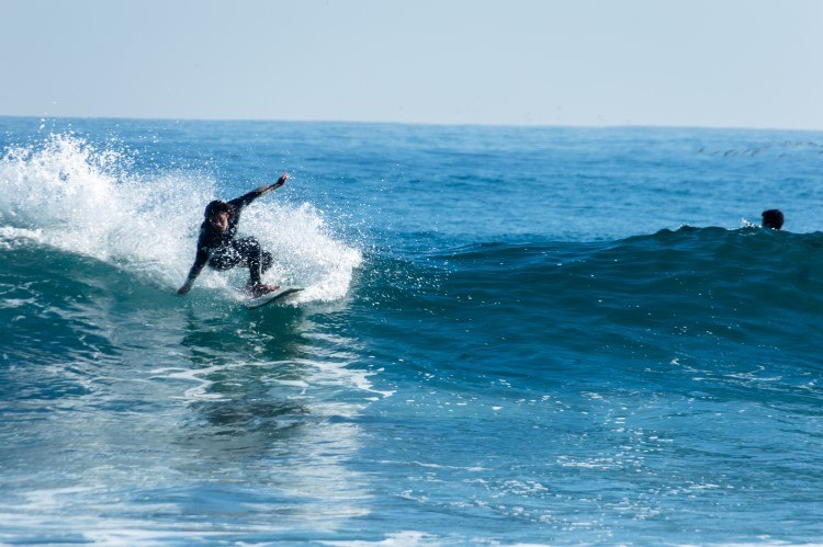Surfing on the central coast in Taucu, Chile.