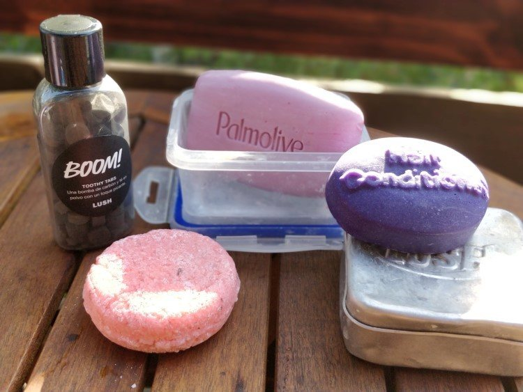 Lush toiletries that are better for eco travel as they use less plastic.