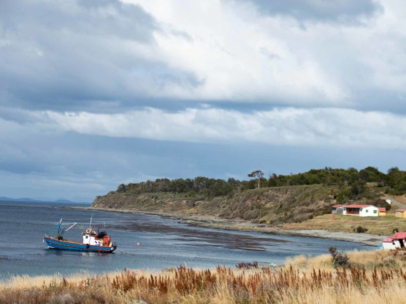 The Magellanic Strait as seen from the shore near Punta Arenas in Chilean Patagonia