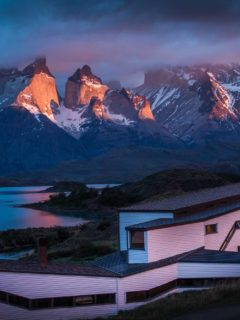 Views across Lago Pehoe and the Cuernos del Paine from Explora, one of the top Torres del Paine hotels in Chilean Patagonia
