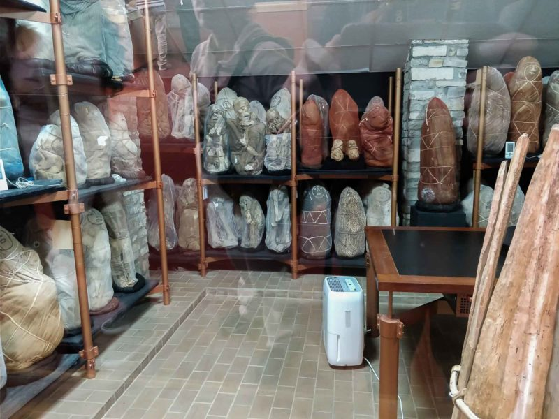 The mummies of Laguna de los Condores on display in a temperature controlled room in the Museo de Leymebamba and important place to visit in Peru
