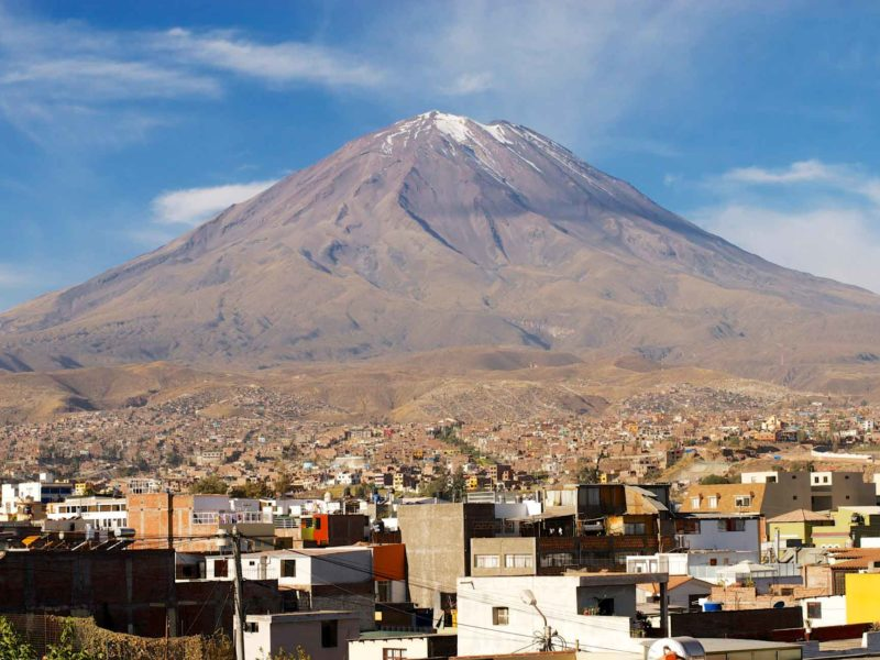 Volcano Misti towers over the city of Arequipa in Peru