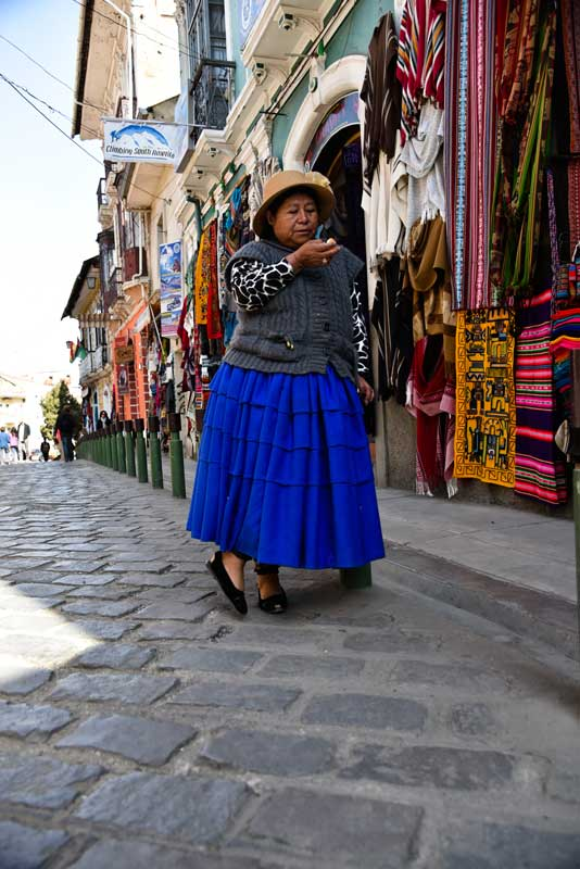 Shops along Calle Sagamaga in La Paz, Bolivia - one of the main tourist shopping markets