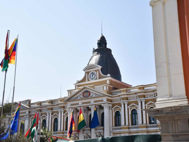 The legislative building on Plaza Murillo in the heart of La Paz - note the backwards clock a destination not to miss in Bolivia
