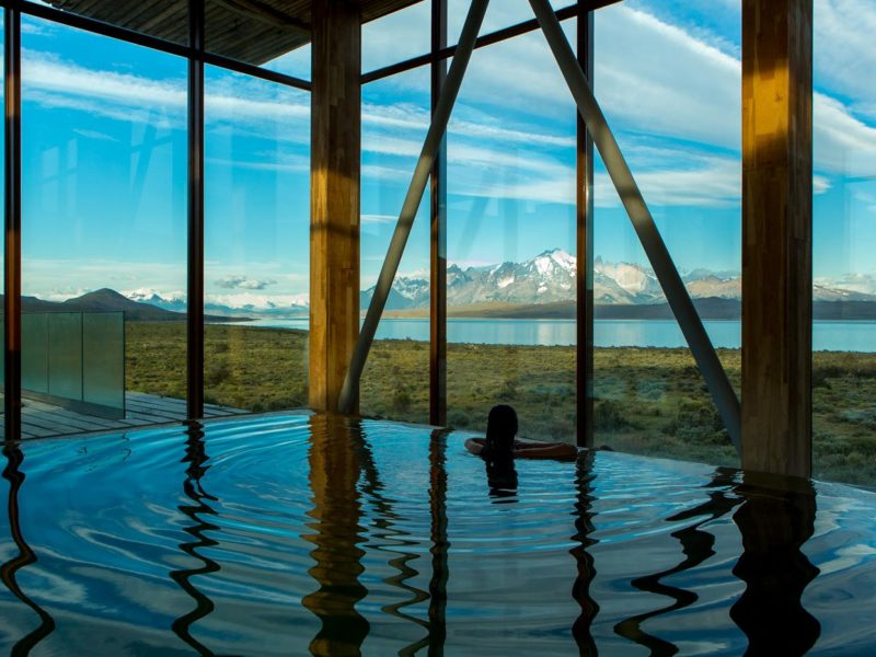 Views from the infinity pool at Tierra Patagonia, one of the top Torres del Paine hotels in Chilean Patagonia