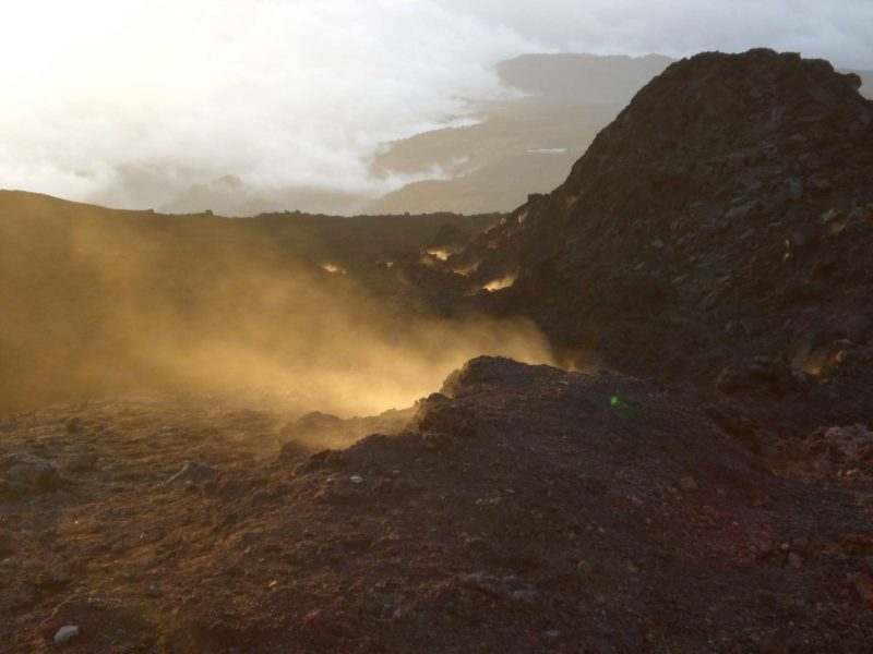 Steam rises out of fissures in the surface of Volcan Pacaya - one of Guatemala's finest - and most adventurous! - tourist attractions
