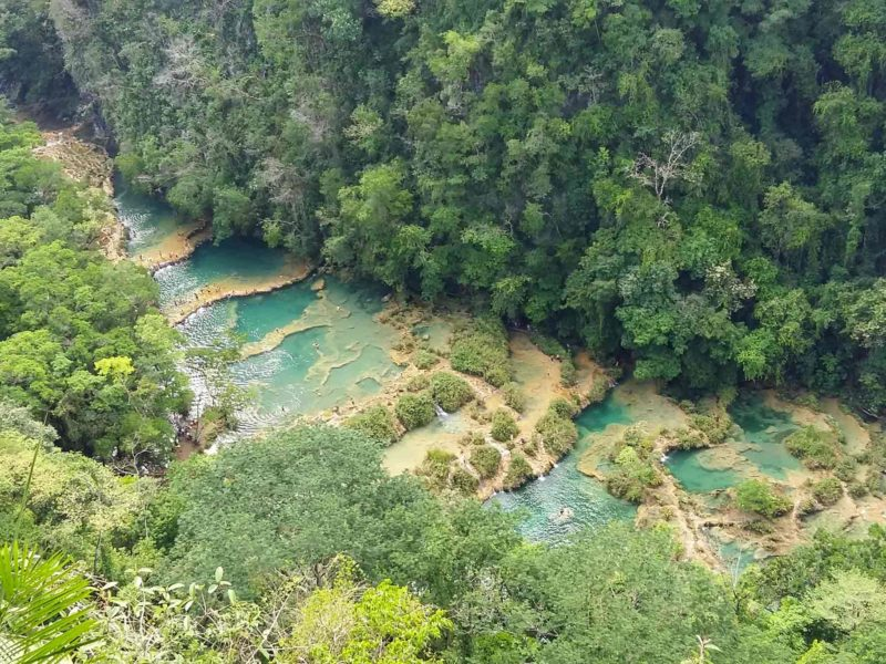 The turquoise natural pools of Semuc Champey, one of Guatemala's top tourist attractions