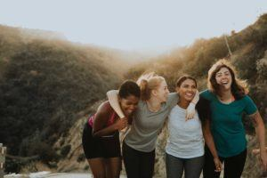 A group of women travelling together on a women's only travel tour