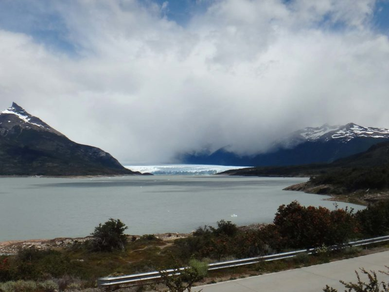 Views of the El Perito Moreno Glacier and Lago Argentino from the road approaching Los Glaciares National Park in Argentine Patagonia