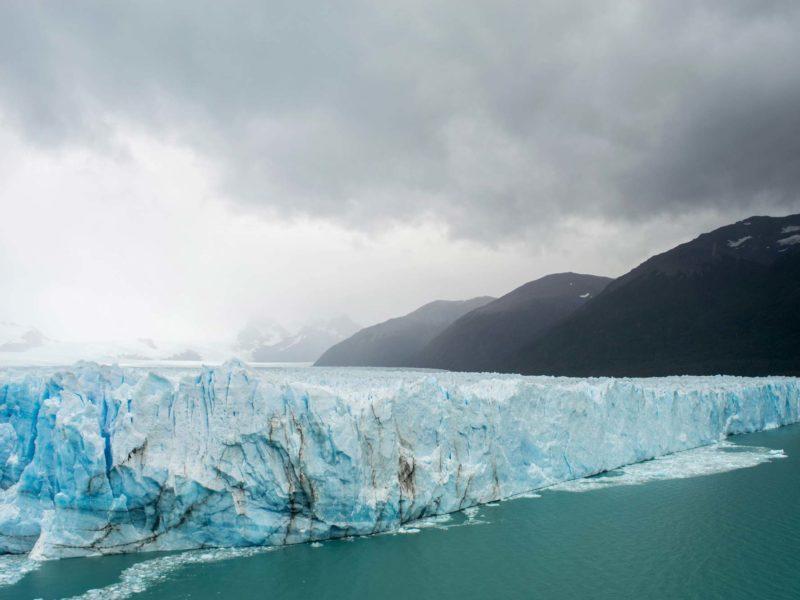 A side view of the Perito Moreno Glacier in Los Glaciers National Park in Argentina