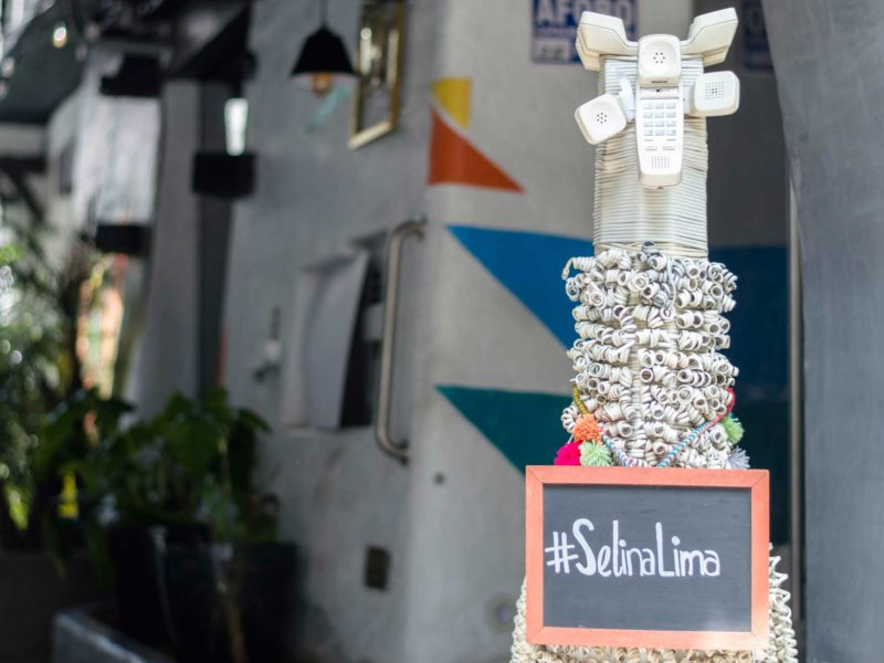 The Selina llama, made out of old telephone cords and handsets stands outside of the hostel, a great place to stay in Lima, Peru
