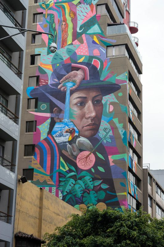 A mural painted by Zelva1, a Peruvian street artist on the exterior of Selina Lima, the best place to stay in Lima, Peru