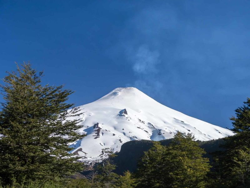 Snow covered Volcan Villarrica is a must-see if you're Backpacking in South America.