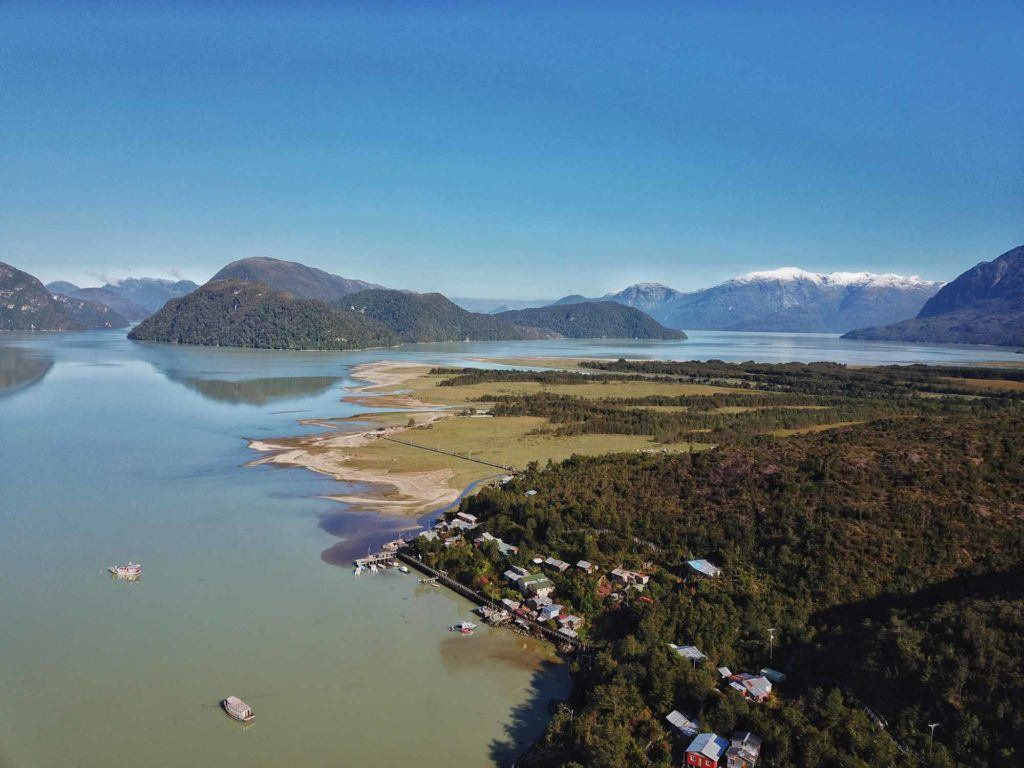 An aerial shot of Caleta Tortel, along the Carretera Austral