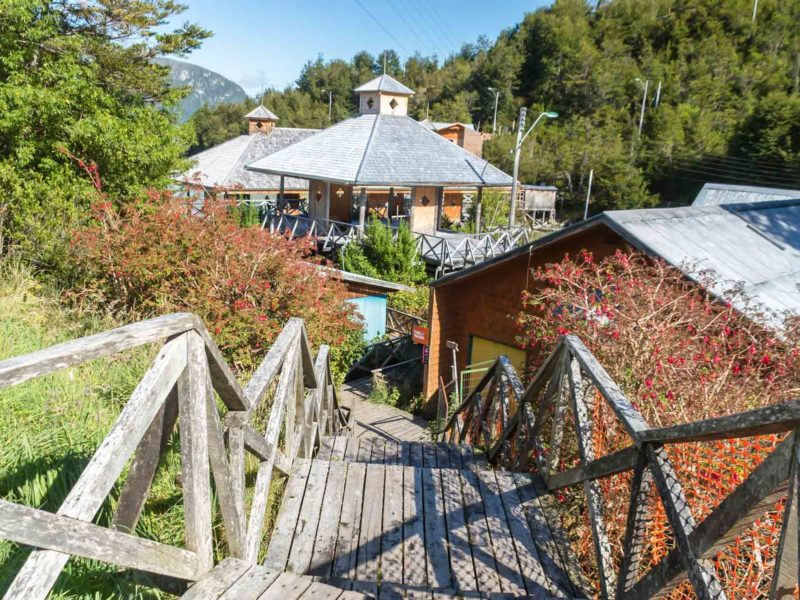 The wooden boardwalks and wooden houses in Caleta Tortel, along the Carretera Austral