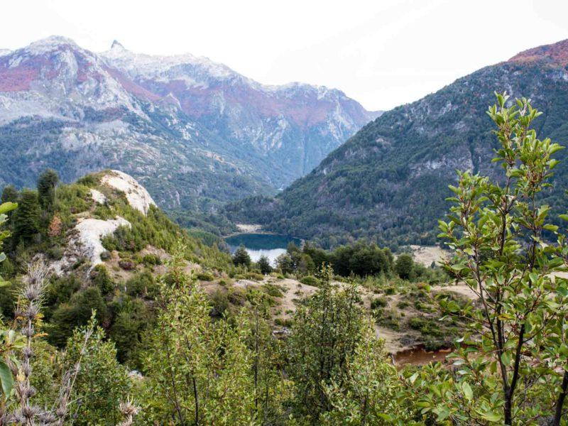 Views of a lake near Futaleufu in Patagonia and reached by a hiking trail