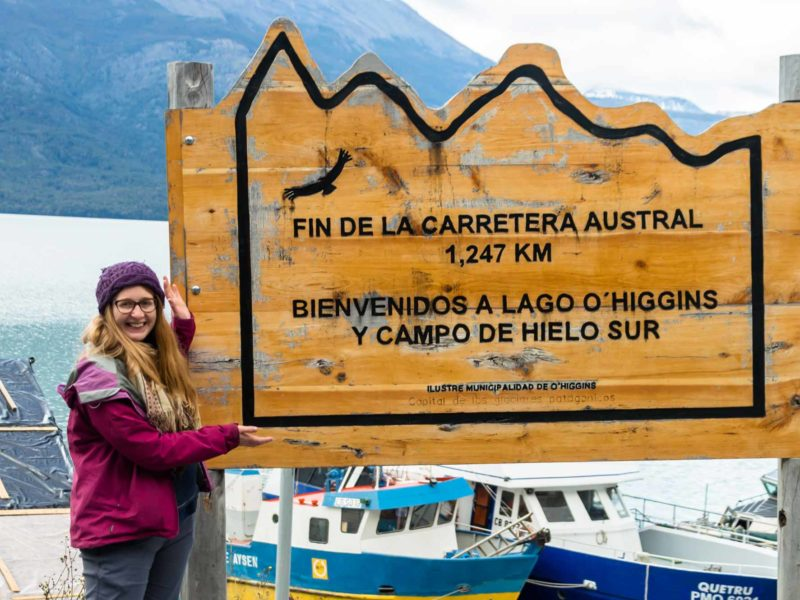 "Sign saying ""the end of the road"" at the end of Patagonia's Carratera Austral near Villa O'Higgins"
