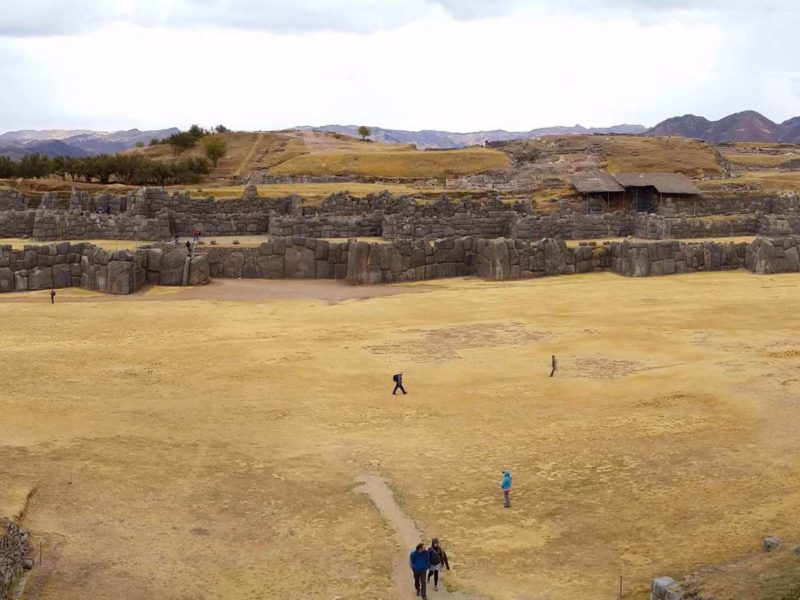 The Plaza and Terraces of Sacsayhuaman Peruvian Temple on this South America Backpacking Route