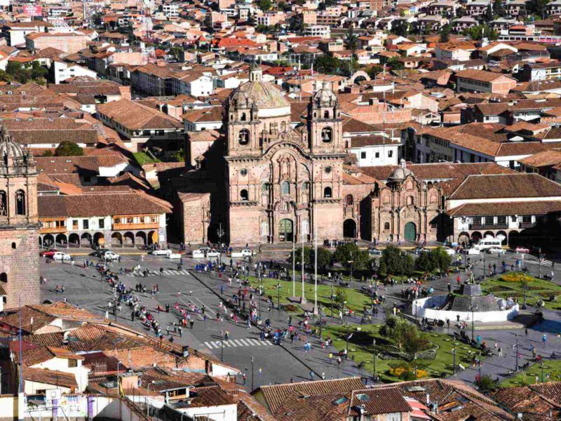 Overlooking the Plaza de los Armas in Cuzco, Peru.