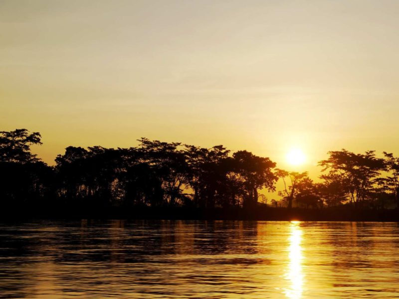Sunset along the river in Palomino Colombia.