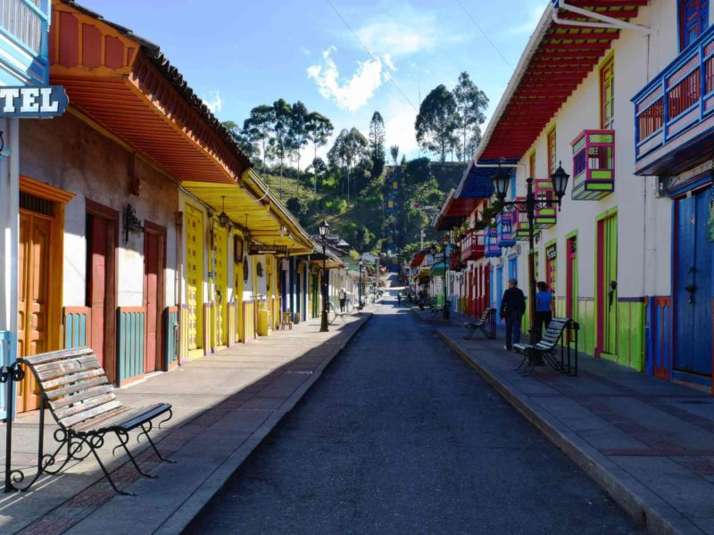 The colorful streets of Salento, Colombia.