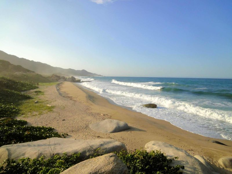The pristine beaches of Tayrona National Park on the Caribbean coast of Colombia.