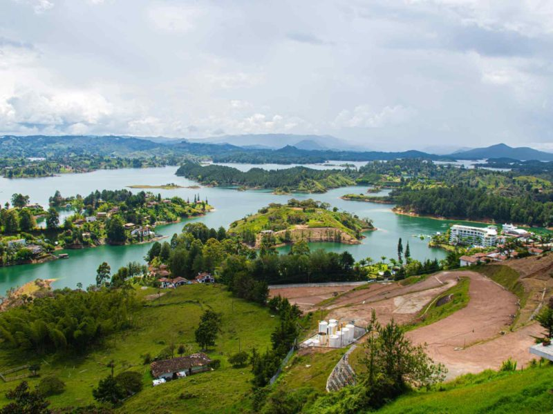 Overlooking the lakes and hills of Guatape Colombia.