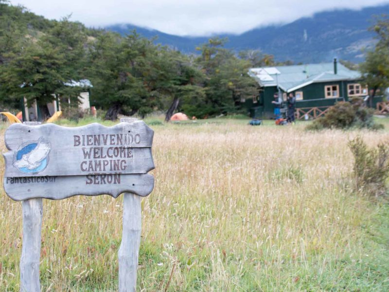 A signpost at the entrance to Campamento Seron while hiking the O Circuit in Torres del Paine National Park, Patagonia