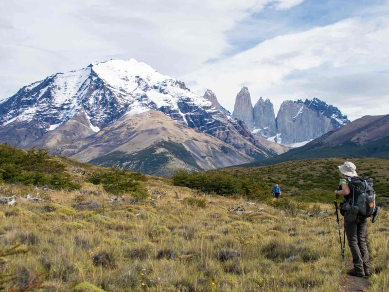 The torres in Torres del Paine at the end of hiking the O Circuit in Torres del Paine National Park, Patagonia