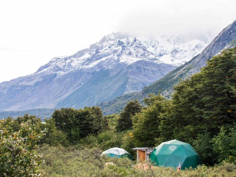 Geodesic domes at Los Cuernos in Torres del Paine National Park
